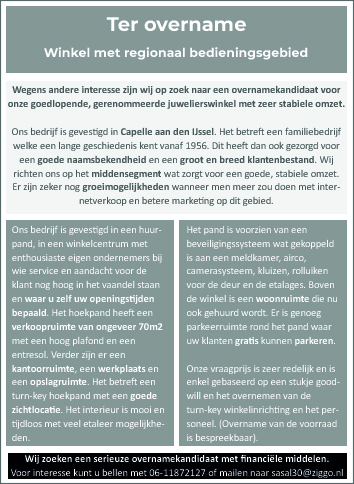 pand ter overname capelle